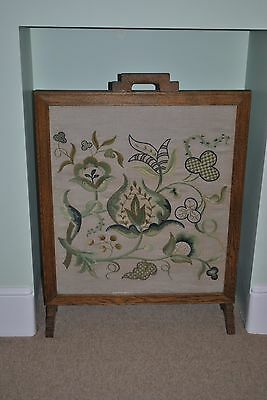 Antique Fire Screen - Oak with Tapestry - Deco? 1950s?