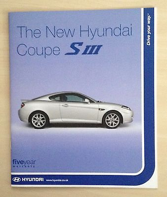 Hyundai Coupe SIII 2007 UK Brochure 1.6, 2.0, 2.7 V6 - Excellent