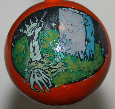 gourd Halloween ornament with graveyard