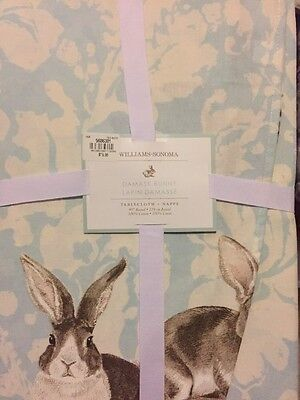 1 Williams Sonoma Easter Bunny Damask Blue 90 ROUND Tablecloth NWT Rabbit Easter