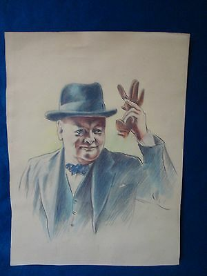 A Vintage Coloured Pencil Drawing, 'winston Churchill'.