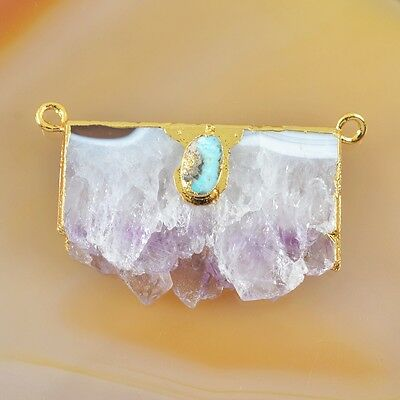 Rare Amethyst Druzy Slice Natural Genuine Turquoise Connector Gold Plated H83791