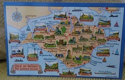 Map of Isle of Wight- The Garden Island. A Nigh postcard