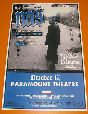 NAS Time Is Illmatic Tour 2015 Paramount - Denver 11x17 Show Flyer / Gig Poster