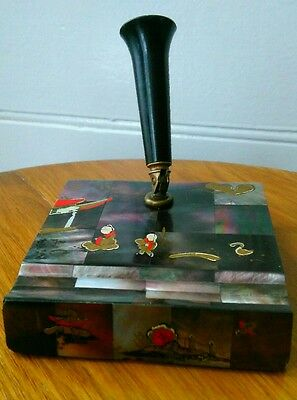 Art Deco / Vintage Pen Stand Desk Tidy Shell Tile Decoration Japanese Chinese
