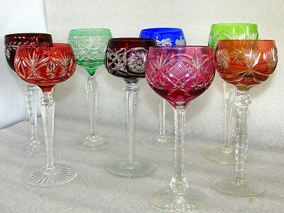 8 Vintage Crystal Colored Cut To Clear Czech Bohemian Wine Glasses Mixed lot