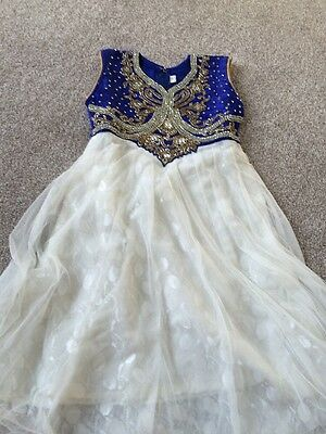 Blue & White Anarkali Suit - Size 18 - Brand New