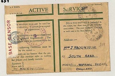 """P234 1937 Surrey. """"Active Service. Examined by Censor"""""""