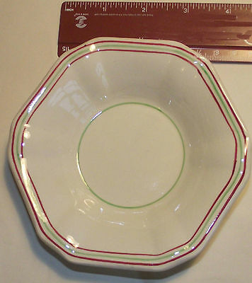 P&O small hexagonal dish 1930 -1960 CREAM WITH GREEN &  RED BANDS GOOD CONDITION