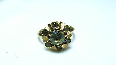 Vintage 1970'S Green Rhinestone Cluster Ring Signed Avon Size 5.5-7.5