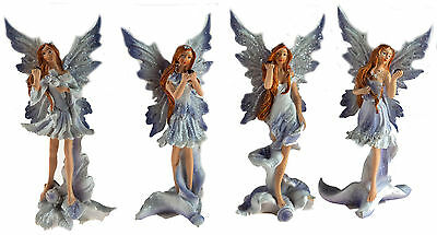 Set Of 4 Lilac 15cm Fairy Girl Resin Ornaments