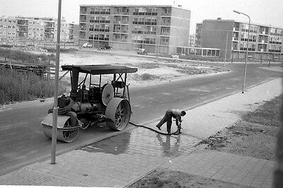 35mm MOUNTED NEGATIVE slide 50/60's life. Steam Roller in use