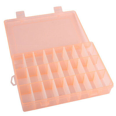 Adjustable 24 Grids Compartment Plastic Storage Box Jewelry Beads Earring Case