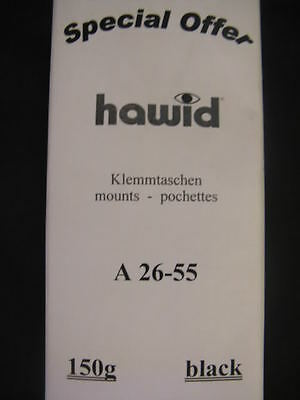 150g MIXED HAWID STAMP MOUNT STRIPS - BLACK - ASSORTED SIZES FROM 26mm to 55mm
