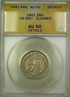1891 Great Britain 1S Shilling Silver Coin ANACS AU-50 Details Cleaned