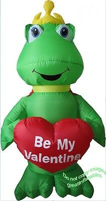 Valentines Inflatable 4' Frog Prince Holding Be My Valentine Heart Airblown Holi