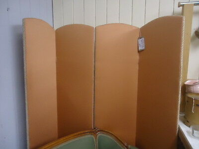 Antique vintage four fold fabric covered dressing screen for recovering