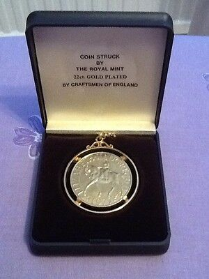 Queen Of Crowns 22ct Gold Plated Silver Jubilee 1977 Commemorative Coin