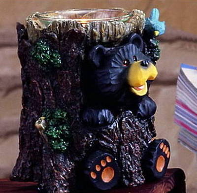 Free Shipping New Carved Look Black Bear Blue Bird & Hollow Tree Candle Holder