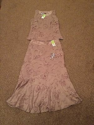 Gorgeous Beige 2 Piece Skirt & Top Outfit-Size 12-Special Occasion-BNWT