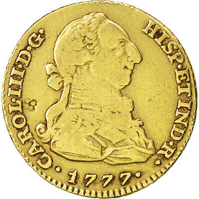 [#88558] SPAIN, 2 Escudos, 1777, Madrid, KM #417.1, VF(30-35), Gold, 5.92