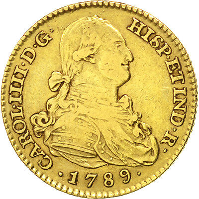 [#88557] SPAIN, 2 Escudos, 1789, Madrid, KM #435.1, EF(40-45), Gold, 6.71