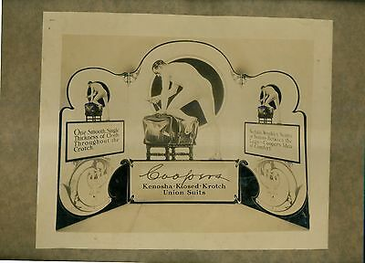 1920's Coopers Union Suits Ad Printer's Photographic Proof Mounted on Board