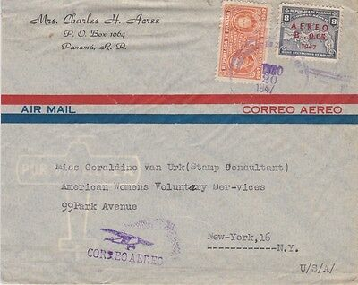 Panama-1947 Postage paid 1.80 cents on airmail letter cover to United States