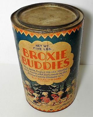 1920-30's BRACH BROXIE BUDDIES CHICAGO SHELLS FRUIT NUTS CANDY 5lb TIN CAN
