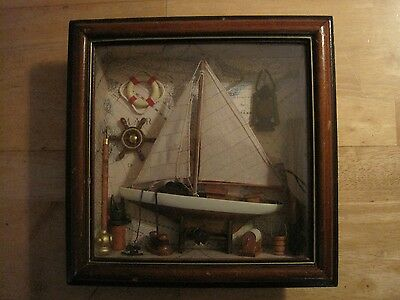 FRAMED YACHT THEME IN GOOD CONDITION, IDEAL FOR A NAUTICAL PUB OR CAFE 29X29 cm