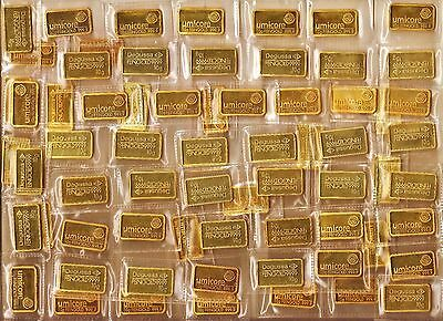 10 Gram Umicor&Degusa Gold-Plated Bars x 65. Dealers Lot, just £2,99 per piece !