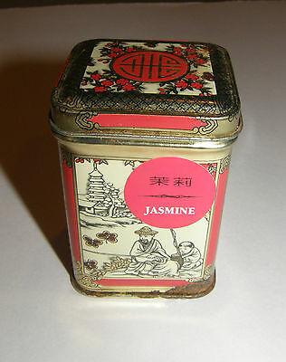 Vintage Asian Japanese Chinese Oriental Scenes Small Tin Loose Leaves TEA CADDY