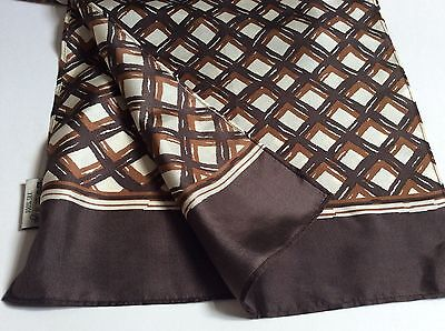 Mens VINTAGE SILK SCARF Retro 70's Mod Geometric Hipster Patterned Gents CRAVAT
