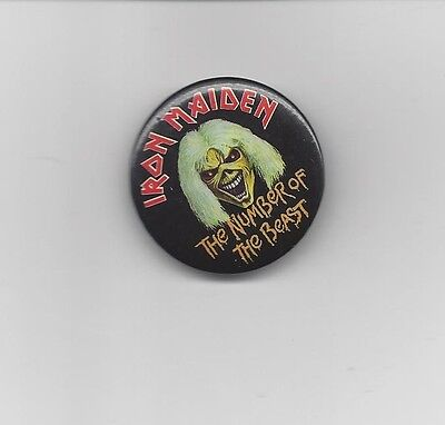Irom Maiden pin-back button - EMI Records 1982