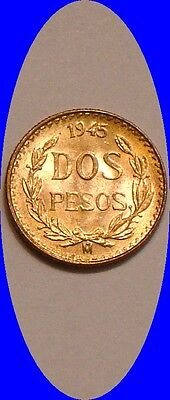 1945 GOLD 2 peso of Mexico frosty Choice BU .900 fine Gold