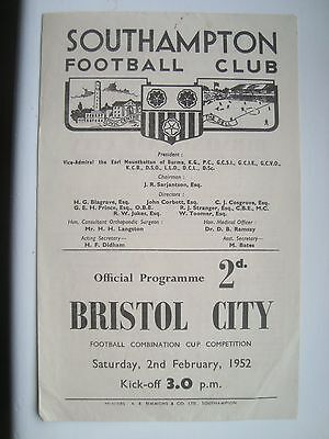 Southampton v Bristol City reserves 1952, Football Combination Cup.