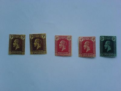 Cayman Islands KGV 1921 - 30 Selection of 5 stamps MCCA  Mint