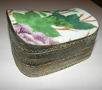 Antique Vintage Asian Japanese Chinese Embossed Pewter Jewelry Box Tea Caddy