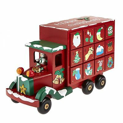 Wooden Advent Truck Calendar Countdown Christmas Home Festive Decoration Gift