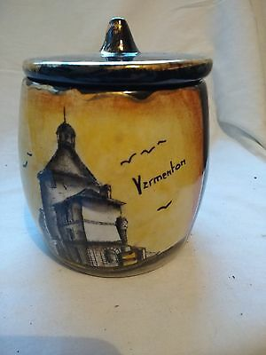 OLD FRENCH CERAMIC BROWN AND GOLD TOBACCO JAR?  135x 110 mm's approx Vermonton