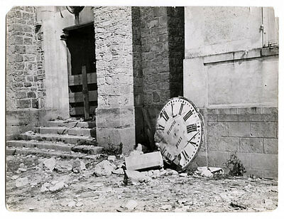 World War One Ww1 Original Photo - The Clock Face Of Barcy Church Meaux