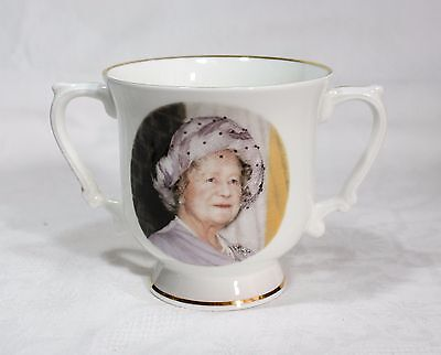 Vintage Fine Bone China Loving Cup Celebrating Queen Mother's 85th Birthday 1985