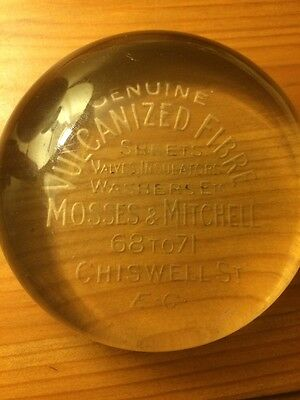 Mosses & Mitchell, Vintage Advertising Glass Paperweight