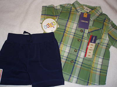 CHEROKEE Button Front Shirt CIRCO Shorts Baby Boys 6 Month Cotton Outfit NWT