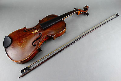Antique German HOPF Violin Full Size 4/4 with Bow & Hard Case 19th Century c1880