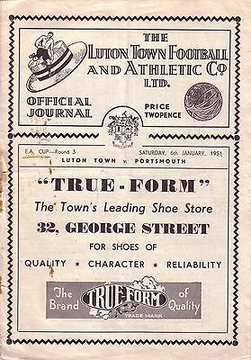 LUTON v PORTSMOUTH 1950/51 FA CUP 3RD ROUND