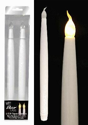 """LED Light Candles Bulb Flameless Flickering Wedding Party Table Taper 11"""" 2 Pack"""