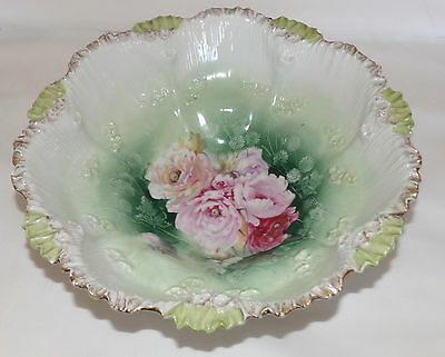 Antique RS PRUSSIA Serving Bowl Porcelain Floral Print Ribbed Scalloped Bowl