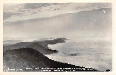 Cline RPPC ~Above the Clouds, Looking N toward Rockwood, TENN from Mt. Roosevelt