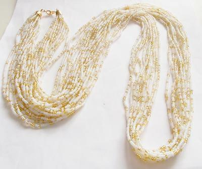 Vintage 70's Crown Trifari White & Gold Tone Seed Beaded Rope Statement Necklace
